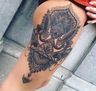 Oriental leg tattoo